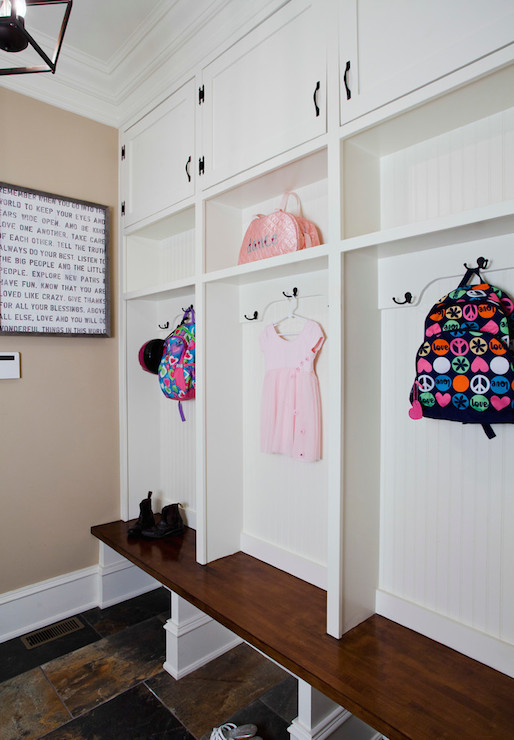 Beadboard Mudroom Lockers Transitional Laundry Room