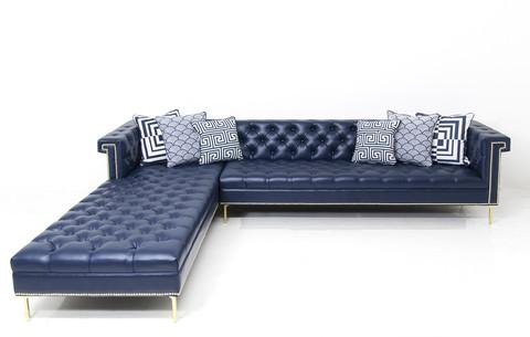 New deep navy sectional for Blue leather chaise