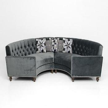 Circle Sectional in Charcoal Velvet, ModShop