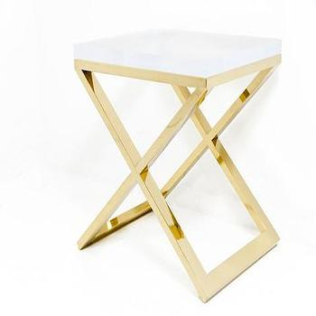 Brass X-Leg Lucite Slab Side Table, ModShop