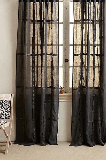 Plum And Bow Grey Ruffle Gauze Curtain