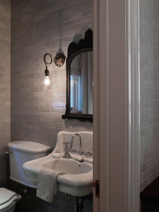 Powder Room With Gray Floor Tiles Design Ideas