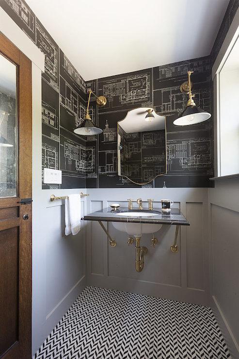 Blueprint Wallpaper Eclectic Bathroom Hsh Interiors