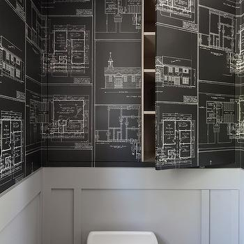 Nautical blueprint wallpaper design ideas hidden cabinets malvernweather Images