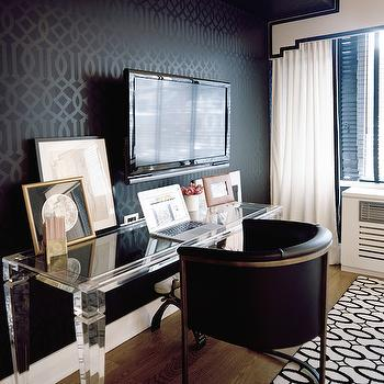 View Full Size. Chic Office Features Walls Clad In Kelly Wearstler ...