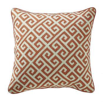 Greek Key Pillow, Persimmon I Wisteria