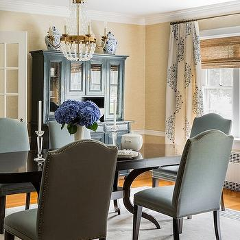 Medallion Curtains, Transitional, dining room, Erin Gates Design
