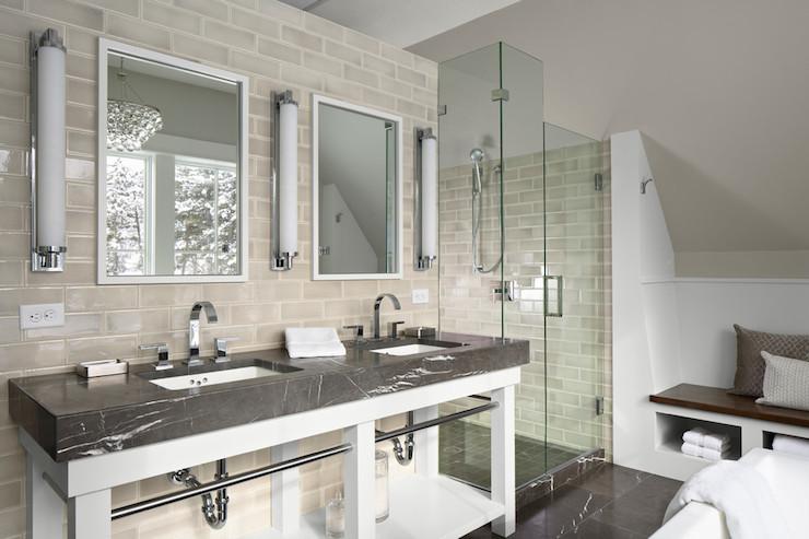 Contemporary Bathroom - 3x8 tile backsplash