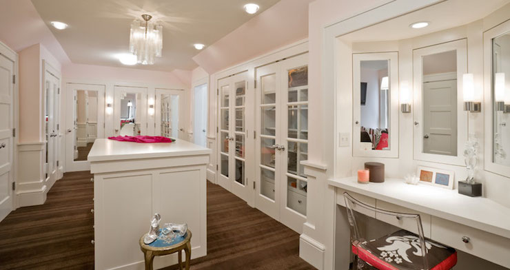 Built In Makeup Table Under Window Transitional Closet