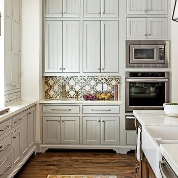 Gray Beadboard Cabinets, Cottage, kitchen, Sherwin Williams Mindful Gray, Southern Living