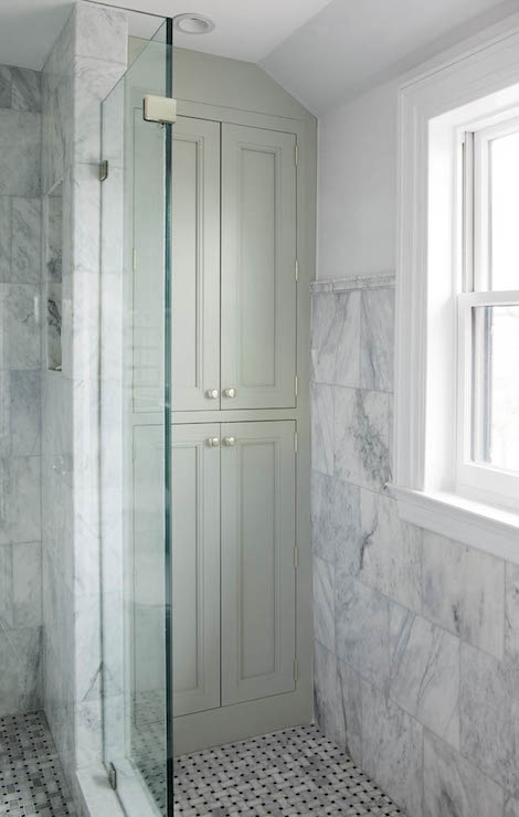 Built in linen cabinets transitional bathroom crown - How much to build a new bathroom ...