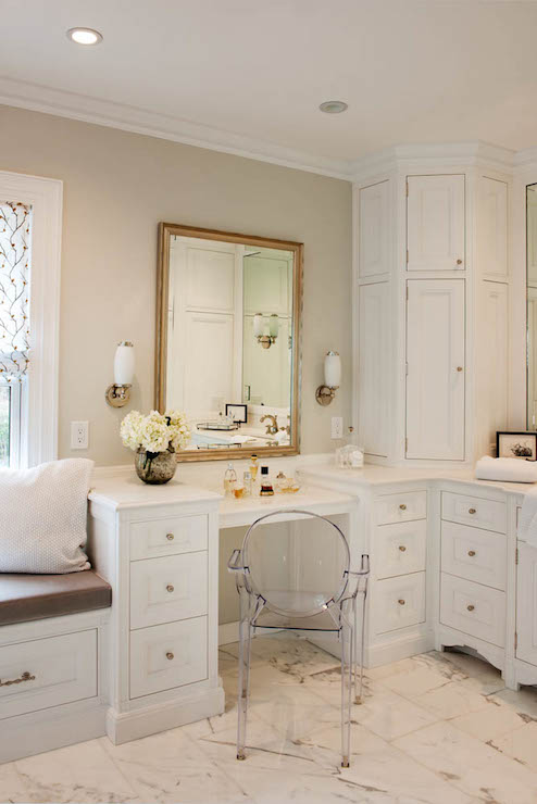 Drop Down Makeup Vanity Transitional Bathroom Crown Point Cabinetry