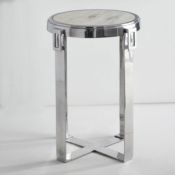Amazing Marble Top Silver Side Table