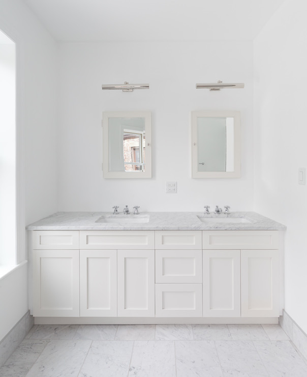 Bathroom Vanity Lights Over Medicine Cabinet : White Framed Medicine Cabinet - Traditional - bathroom - Phoebe Howard