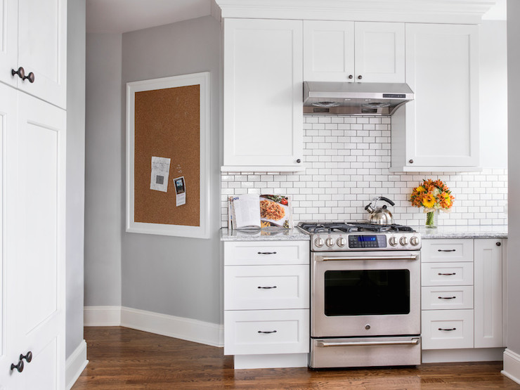 White framed pinboard design ideas for White kitchen cabinets with oil rubbed bronze hardware
