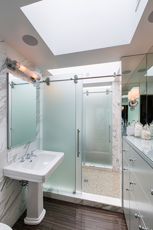 Frosted Glass Sliding Barn Shower Door Design Ideas
