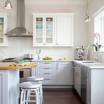 White Herringbone Backsplash, Transitional, kitchen, Mahogany Builders
