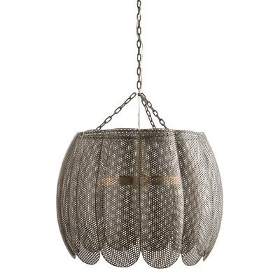 Arteriors home silver liberty 3 light bowl pendant