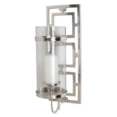 arteriors home silver wilson polished nickel and glass hurricane sconce. Black Bedroom Furniture Sets. Home Design Ideas