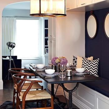 Bluestone & Cast Iron Pedestal Rectangular Dining Table, Transitional, dining room, Chango & Co.
