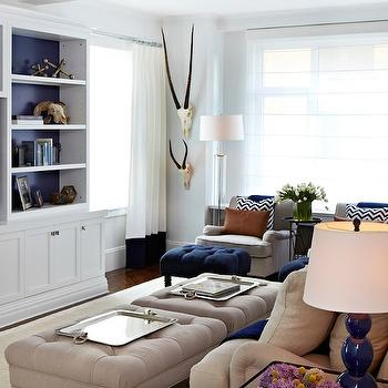white and navy room with orange accents - contemporary - living room