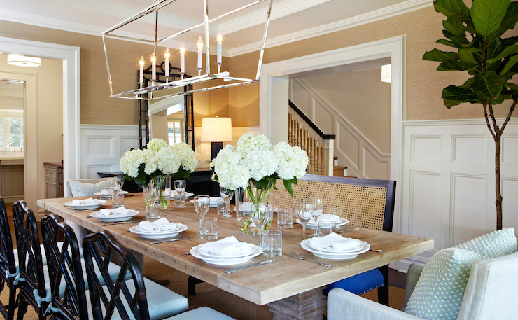 Fantastic dining room features Darlana Linear Pendant illuminating  Restoration Hardware Salvaged Wood Trestle Rectangular Extension Dining  Table lined with. Salvaged Wood Dining Table   Transitional   dining room   Chango   Co