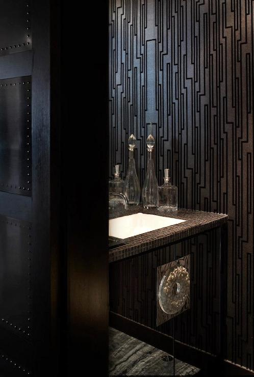 Silver Leaf Wallpaper Contemporary Bathroom Kohler