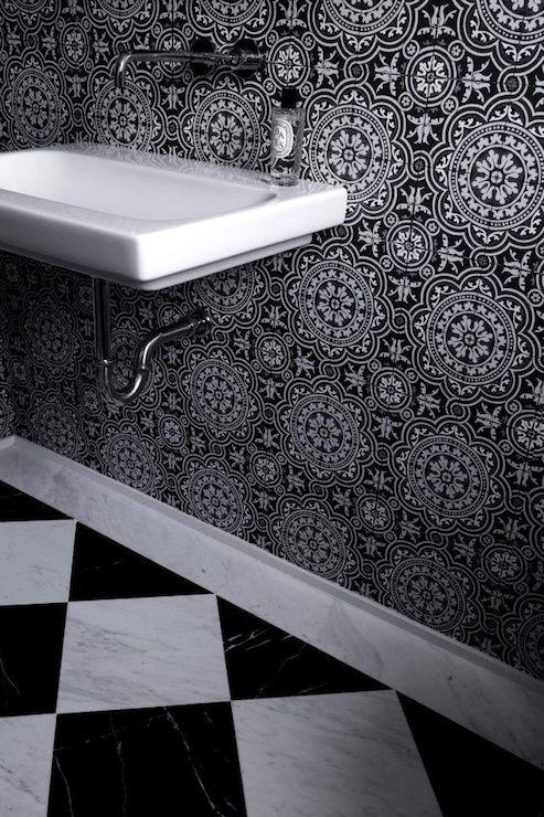 White Black Diamond Tiles Design Ideas