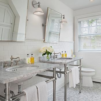 His and Her Washstands, Transitional, bathroom, Cottage Company Interiors