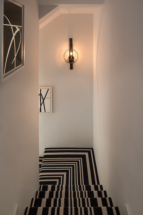 Black And White Stripe Stair Runner Contemporary