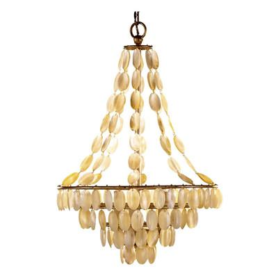 Arteriors home gold southampton 3 light iron and shell chandelier mozeypictures Images