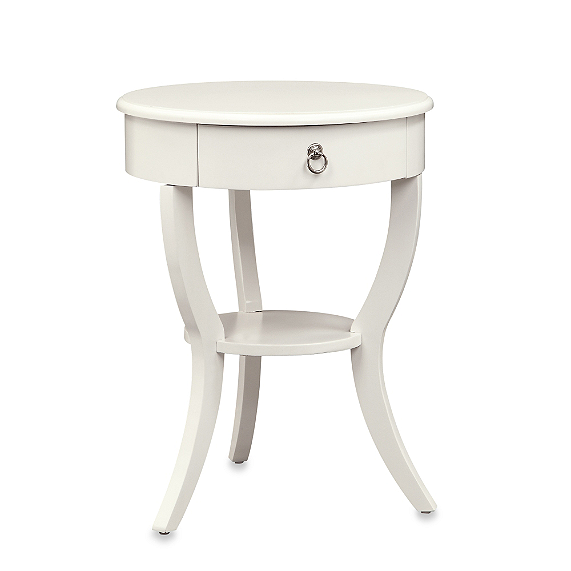 Pottery Barn Carrie Pedestal Bedside Table Look For Less - White round bedside table