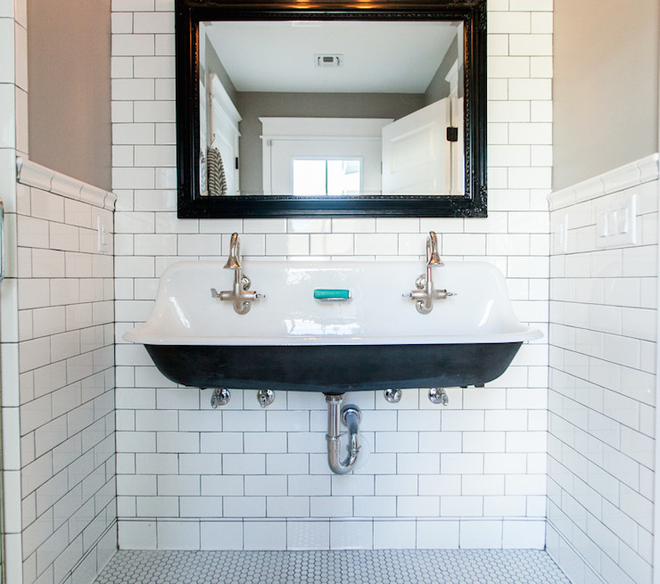 bathrooms subway tile with dark grout design ideas