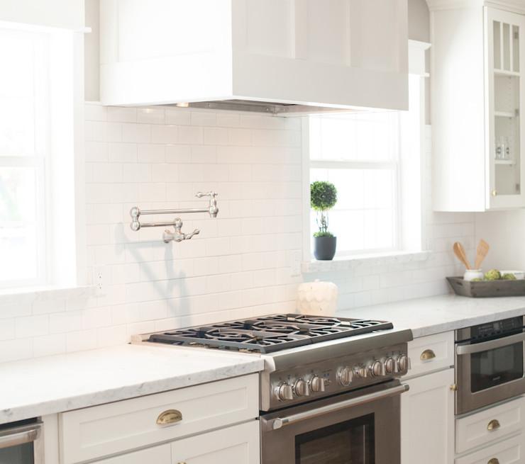 Kitchen Backsplash Tile Around Window: Brass Trimmed Kitchen Hood