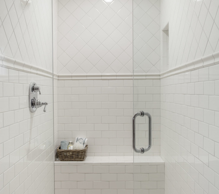 Chair Rail In Bathroom Part - 40: Mixed Shower Tiles