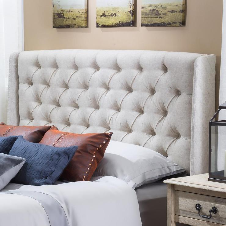 Christopher Knight Home Perryman Tufted Beige Fabric Headboard