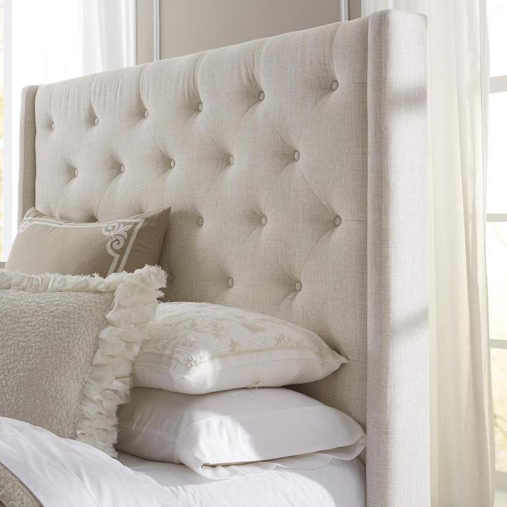 Wingback button tufted cream upholstered headboard for Upholstered beds