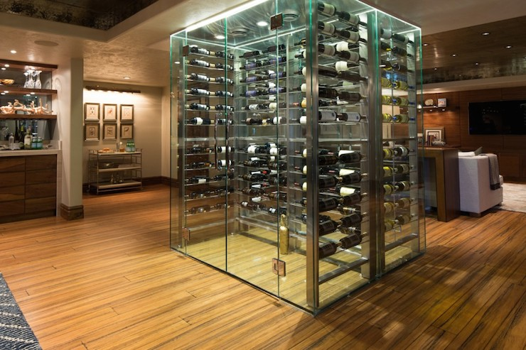 See Through Wine Cellar Contemporary Basement Alice