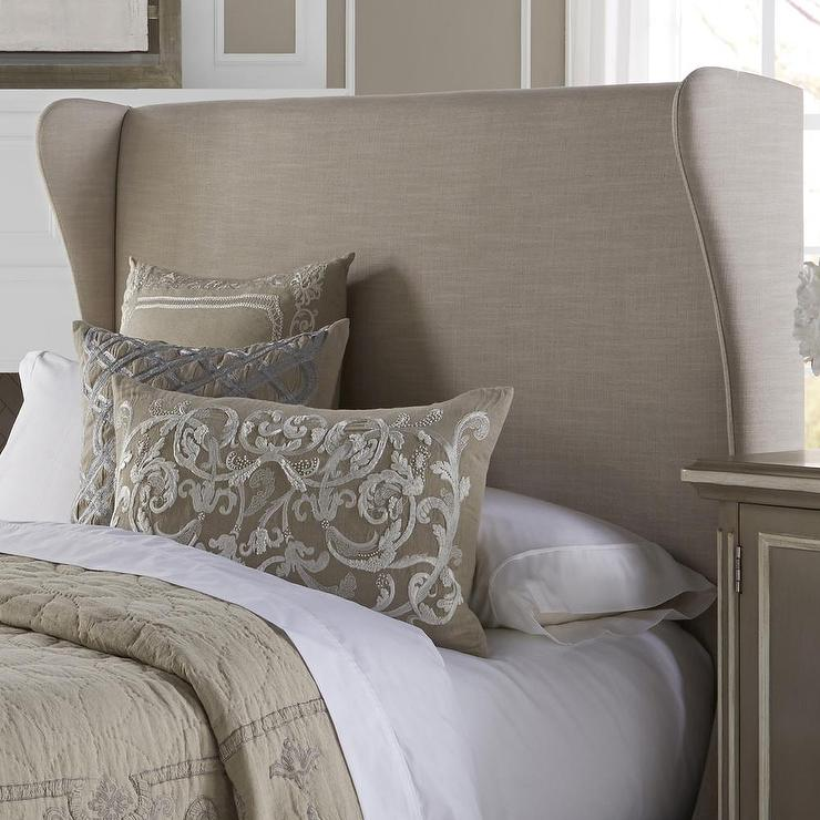 cream queen size upholstered headboard, Headboard designs