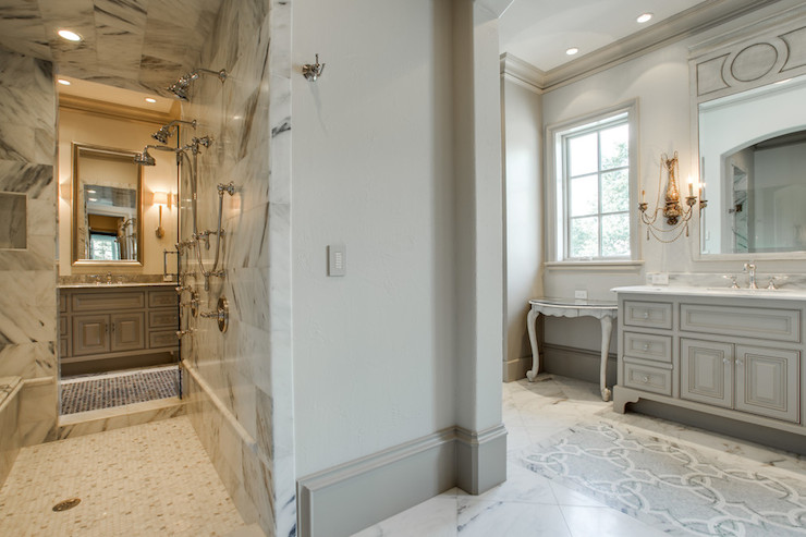 Walk Through Shower - Transitional - bathroom - Tatum Brown Custom ...