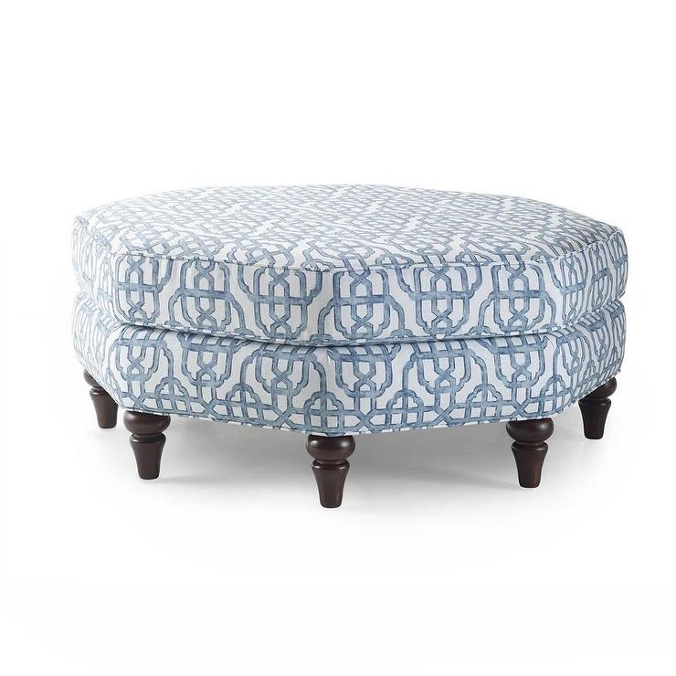 Grey And Beige Snow Leopard Mckenzie Upholstered Ottoman