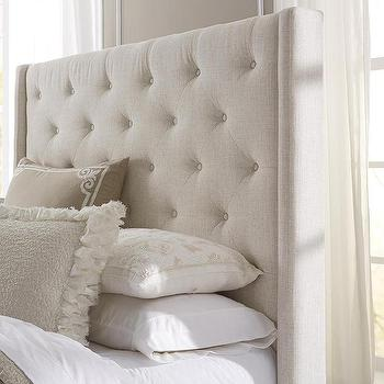 Wingback Button Tufted Cream Upholstered Headboard, Overstock