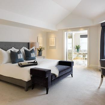 Gray Velvet Bench, Contemporary, bedroom, Finchatton