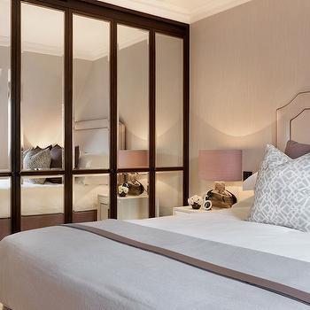 floor to ceiling mirror contemporary bedroom