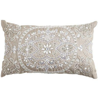 beaded medallion silver lumbar pillow