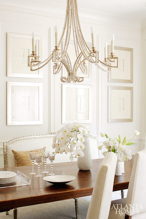 Jewel chandelier transitional dining room atlanta homes lifestyles - Dining room table chandeliers ...