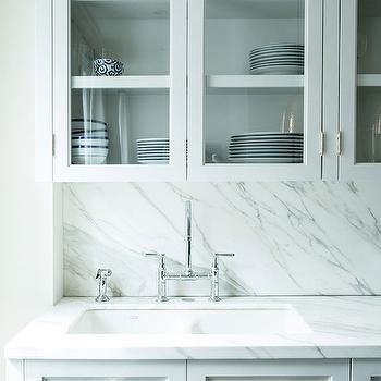 Glass Door Kitchen Cabinets, Transitional, kitchen, Lonny Magazine