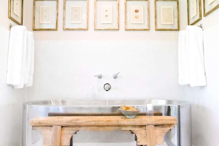 Stainless Steel Bathtub - Cottage - bathroom - Ohara Davies Gaetano