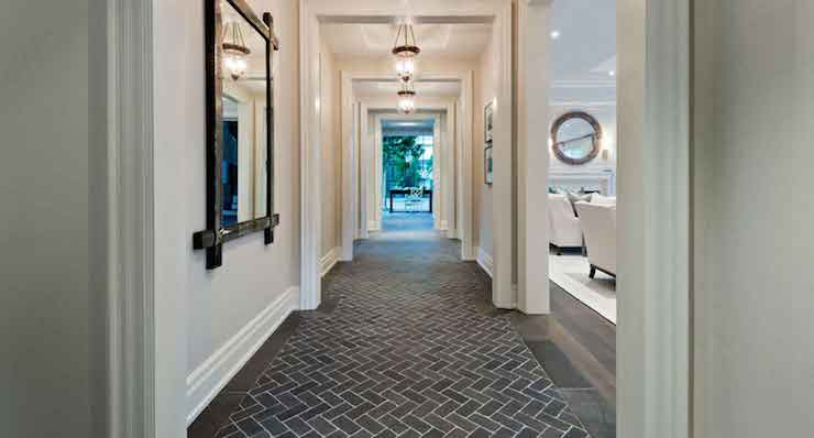Brick Herringbone Tiles Transitional Entrance Foyer