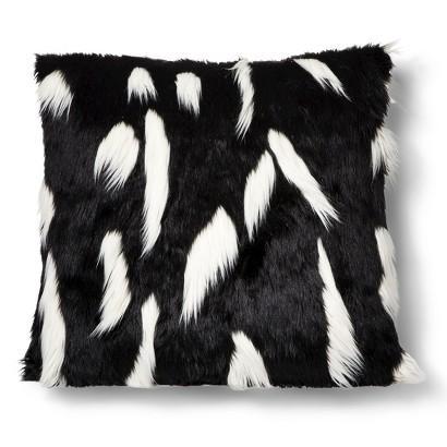 Nate Berkus Black and White Faux Fur Floor Pillow